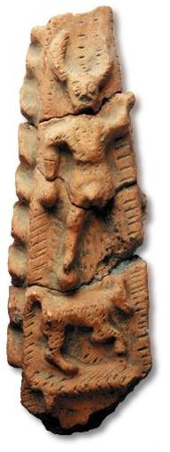 Enigmatic 'Gallo-Roman' terracotta votive from Nantes, 2nd-3rd century AD: A horned god (Cernunnos?) standing on what appears to be a wolf