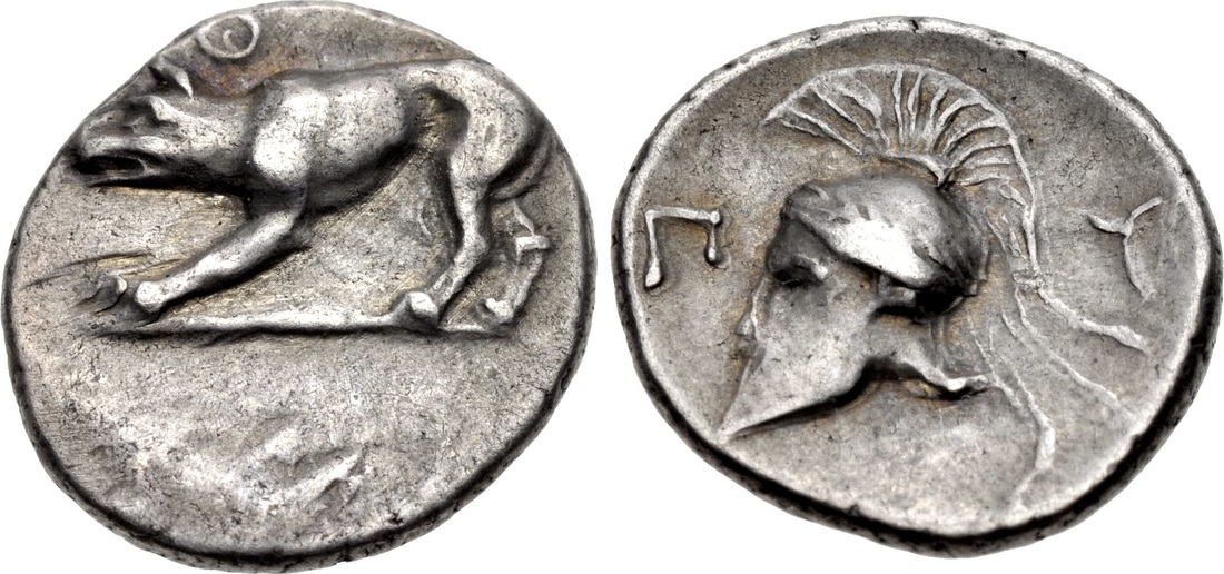 Silver obol from Argos, with wolf and Corinthian helmetmet