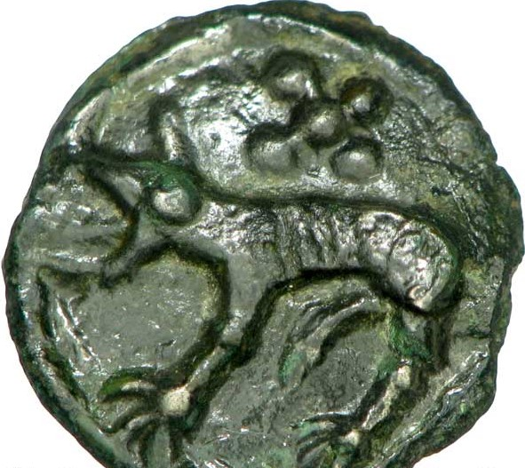 Celtic potin coin with wolf, Carnutes
