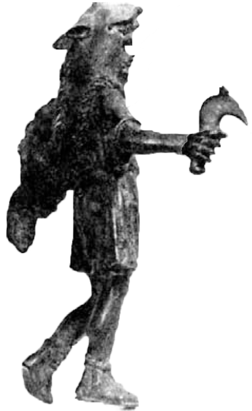bronze statuette of Celtic god, wolf skin, mallet