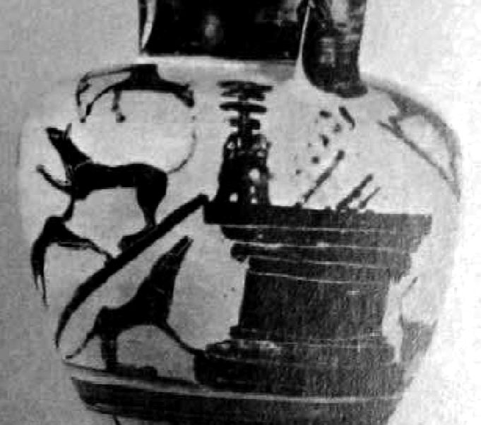 Etruscan  amphora: wolves at altar Servius